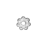 TierraCast Beaded Daisy Spacer Bead 4x1mm Pewter Bright Silver Plated (4-Pcs)