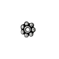 TierraCast Beaded Daisy Spacer Bead 4x1mm Pewter Antique Rhodium Plated (4-Pcs)