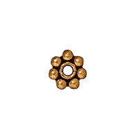 TierraCast Beaded Daisy Spacer Bead 4x1mm Pewter Antique Gold Plated (4-Pcs)