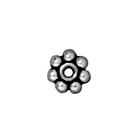 TierraCast Beaded Daisy Spacer Bead 5x2mm Pewter Antique Silver Plated (4-Pcs)