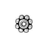 TierraCast Beaded Daisy Spacer Bead 6x2mm Pewter Antique Silver Plated (4-Pcs)