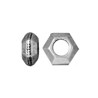 TierraCast Faceted Large Hole Spacer Bead 5x3mm Pewter Antique Silver Plated (4-Pcs)