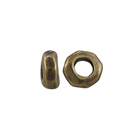 TierraCast Large Nugget Spacer Bead 5x2mm Pewter Oxidized Brass Plated (6-Pcs)