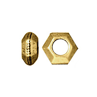 TierraCast Faceted Large Hole Spacer Bead 5x3mm Pewter Antique Gold Plated (4-Pcs)