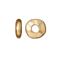 TierraCast Large Hole Nugget Spacer Bead 6x2mm Pewter Bright Gold Plated (4-Pcs)