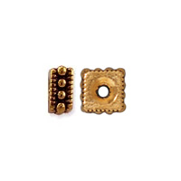 TierraCast Rococo Square Spacer Bead 5x2mm Pewter Antique Gold Plated (2-Pcs)