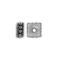 TierraCast Rococo Square Spacer Bead 5x2mm Pewter Antique Silver Plated (2-Pcs)
