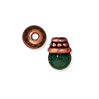 TierraCast Beaded Bead Cap 4x2mm Pewter Antique Copper Plated (2-Pcs)