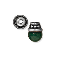 TierraCast Beaded Bead Cap 4x2mm Pewter Antique Silver Plated (2-Pcs)