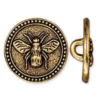 TierraCast Bee Button 15mm Pewter Antique Gold Plated (1-Pc)