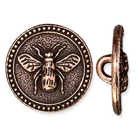 TierraCast Bee Button 15mm Antique Copper Plated (1-Pc)
