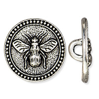 TierraCast Bee Button 15mm Antique Silver Plated (1-Pc)
