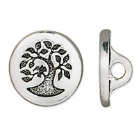 TierraCast 12mm Antique Silver Plated Bird in a Tree Pewter Button (1-Pc)