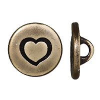 TierraCast Heart Button 12mm Pewter Brass Oxide (1-Pc)