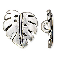 TierraCast Monstera Button 15mm Pewter Antique Silver Plated (1-Pc)