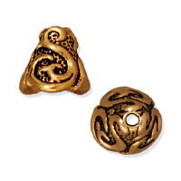 TierraCast Lily Cone 9x8mm Pewter Antique Gold Plated (1-Pc)