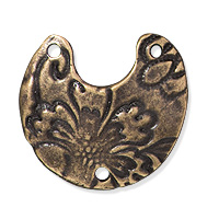 TierraCast Crescent Flora Link 21x19mm Pewter Brass Oxide (1-Pc)