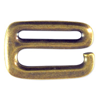 TierraCast E Hook 27x18mm Pewter Antique Brass Plated (1-Pc)