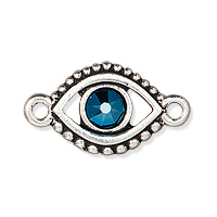 TierraCast Evil Eye Link with Swarovski Crystal 11x20mm Pewter Antique Silver Plated (1-Pc)