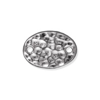 TierraCast Hammertone Oval Link 13x9mm Pewter Bright Rhodium Plated (1-Pc)