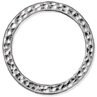 TierraCast Hammertone Ring 25mm Pewter Bright Rhodium Plated (1-Pc)
