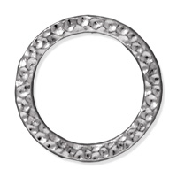 TierraCast Large Hammertone Ring 19mm Pewter Bright Rhodium Plated (1-Pc)