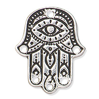 TierraCast Hamsa Hand Link 22x18mm Pewter Antique Silver Plated (1-Pc)