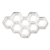 TierraCast Honeycomb Link 21x12mm Antique Silver Plated (1-Pc)