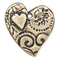 TierraCast Amor Heart Pendant 23x24mm Pewter Brass Oxide (1-Pc)