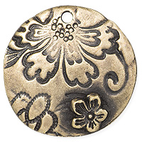 TierraCast Flora Pendant 22mm Pewter Brass Oxide (1-Pc)