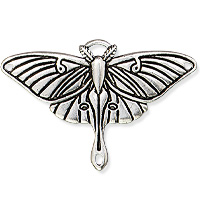 TierraCast Luna Moth Pendant 40x26mm Antique Silver Plated (1-Pc)