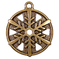TierraCast Snowflake Pendant 24x19mm Pewter Antique Gold Plated (1-Pc)