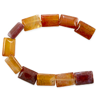 10 Strands of Fire Agate Puffy Rectangle Beads 10x14mm (8