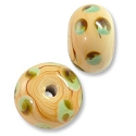 Lampwork Rondelle Glass Bead 9x13mm Tan/Green (1-Pc)
