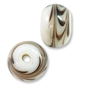 Lampwork Rondelle Glass Bead 9x13mm White/Purple (1-Pc)