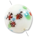 Lampwork Glass Bead Puffy Round 19mm White/Green/Red/Blue (1-Pc)