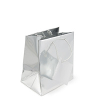 Metallic Silver 4x4 Tote Gift Bag (20-Pcs)