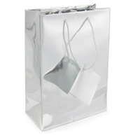 Metallic Silver 4x6 Tote Gift Bag (20-Pcs)