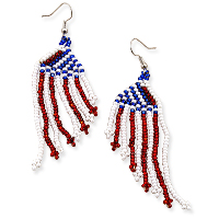 Handmade Patriotic American Flag Earrings