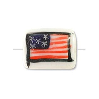 Hand Painted Flat Tube Bead USA Flag 20mm (12-Pcs)