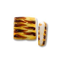 Hand Painted Glass Flat Square Tiger Bead 25mm (12-Pcs)