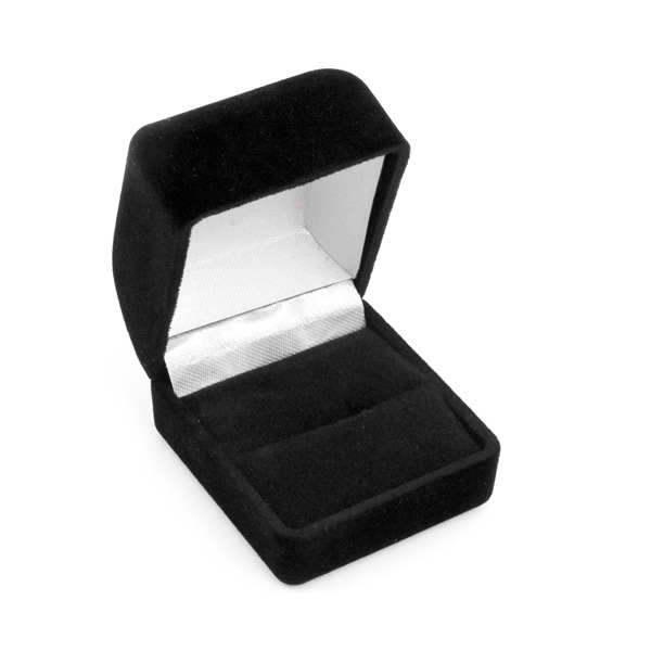 Black Flocked Ring Box For Jewelry Display