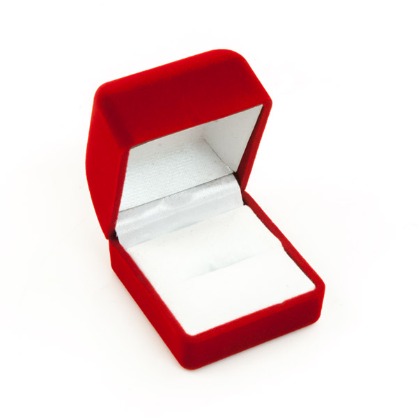 Engagement Ring Box Sale: Small Red Flocked Ring Box For Jewelry Display