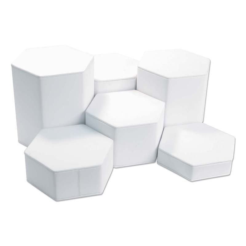 Six Piece Riser Set Jewelry Display White Leatherette