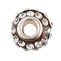 Large Hole Rhinestone Bead with Grommet 14x9mm Crystal on Red
