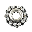 Large Hole Rhinestone Bead with Grommet 14x9mm Crystal on Black