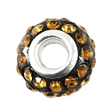 Large Hole Rhinestone Bead with Grommet 14x9mm Topaz on Black