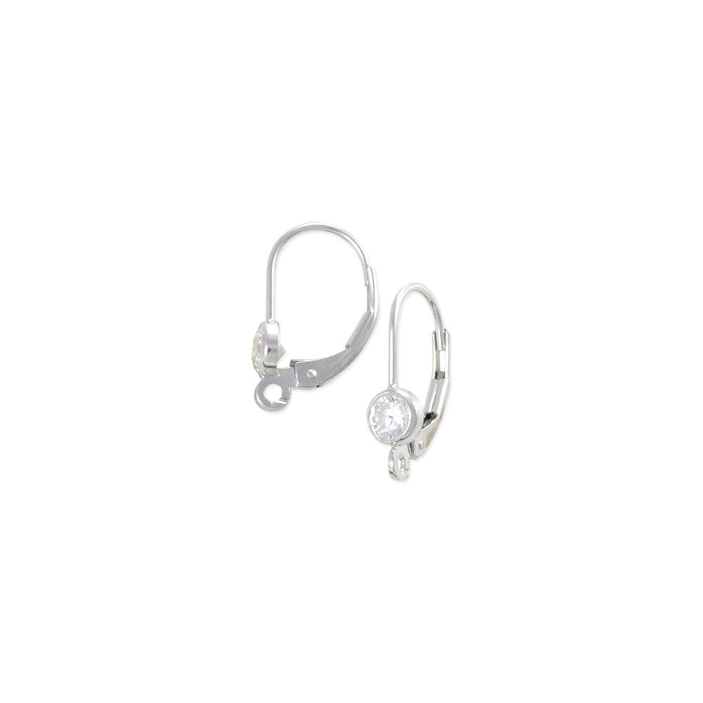 787d23263 Lever Back Earring with 4mm Cubic Zirconia Stone Sterling Silver | earring  findings bulk | Buy in Bulk