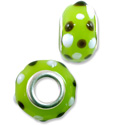 Large Hole Lampwork Glass Bead with Grommet 9x14mm Lime Green with Black and White Dots (1-Pc)