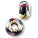 Large Hole Lampwork Glass Bead with Grommet 13x8mm Black with Pink and Yellow Swirl (1-Pc)